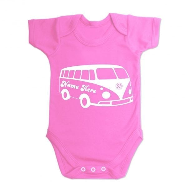 Hot Pink Custom Printed Campervan Baby Vest