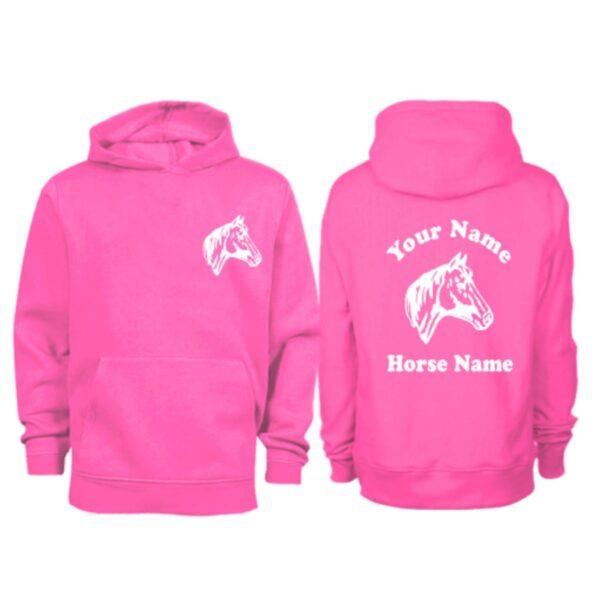 Kids Personalised Horse Head Hoodie H9 Hot Pink