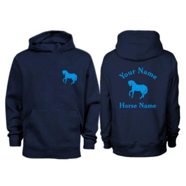 Kids Personalised Horse Hoodie H5 NavyKids Personalised Horse Hoodie H5 Navy