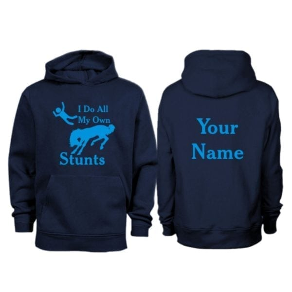 Kids Personalised I do All My Own Stunts Horse Hoodie Navy