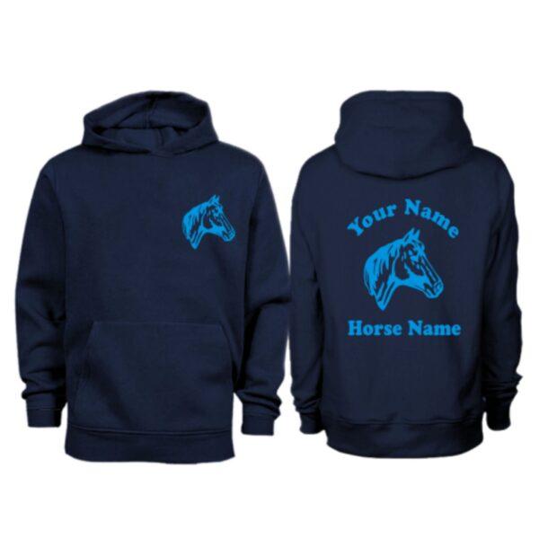 Kids Personalised Horse Head Hoodie H9 Navy