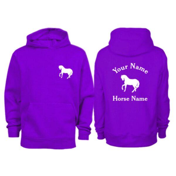 Kids Personalised Horse Hoodie H5 Purple