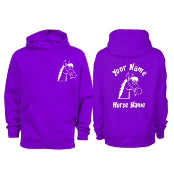 Kids Personalised Cartoon Horse Head Hoodie H7 Purple