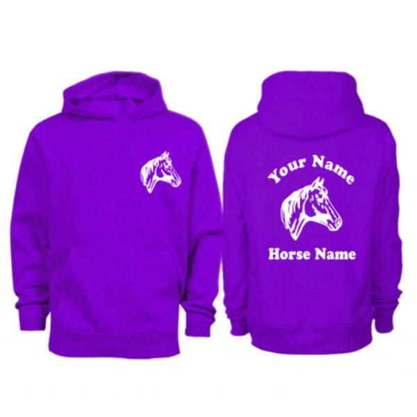 Kids Personalised Horse Head Hoodie H9 Purple