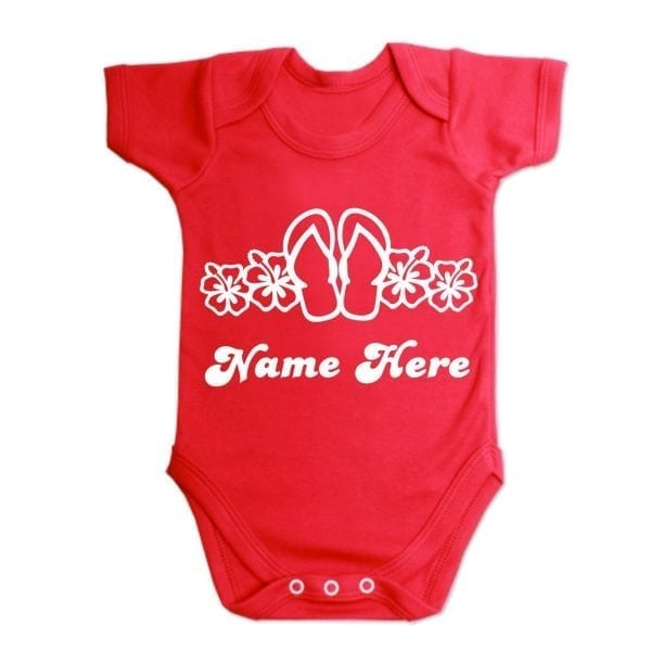 Custom Printed Flip Flop And Flowers Baby Vest Red