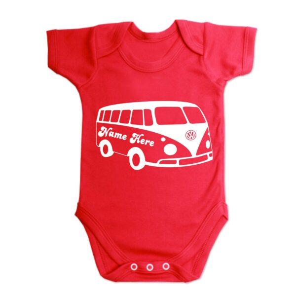 Red Custom Printed Campervan Baby Vest