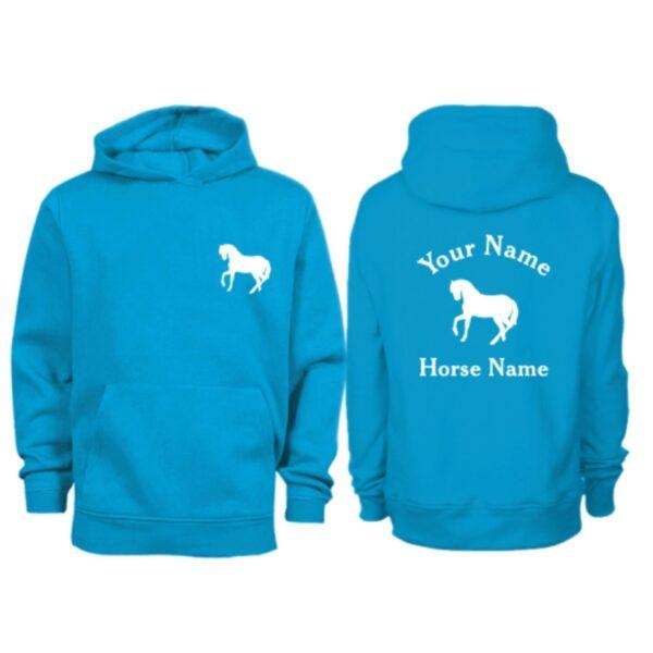 Kids Personalised Horse Hoodie H5 Sapphire Blue
