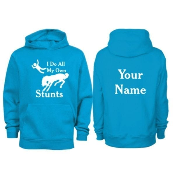 Kids Personalised I do All My Own Stunts Horse Hoodie Sapphire Blue
