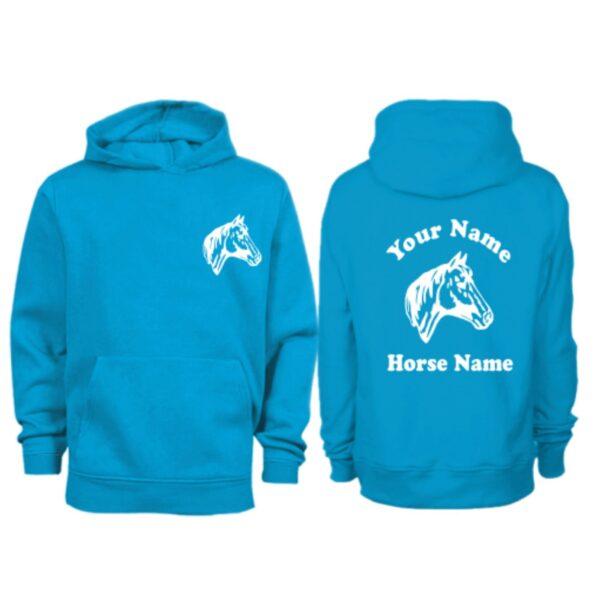 Kids Personalised Horse Head Hoodie H9 Sapphire Blue