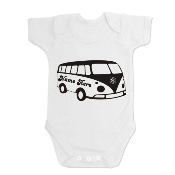 White Custom Printed Campervan Baby Vest