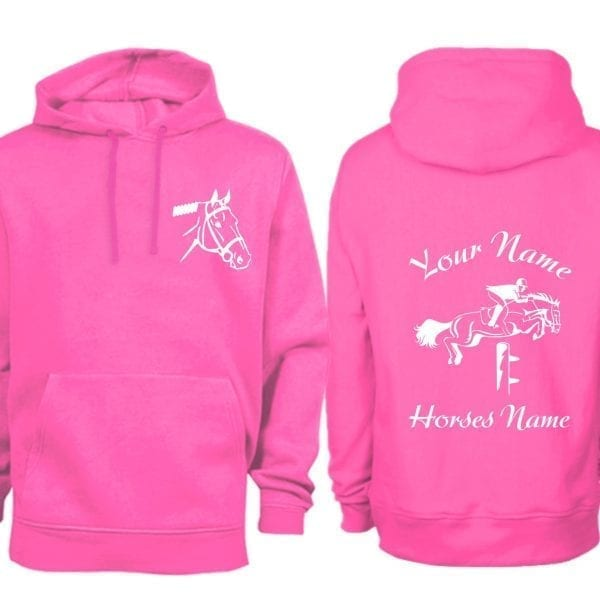 Adult Hot Pink Personalised Show Jumping Hoodie