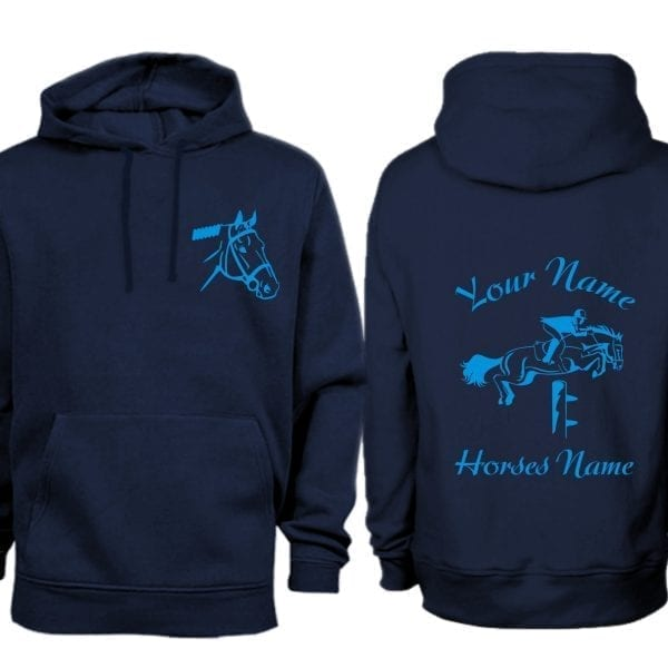 Adult Navy Personalised Show Jumping Hoodie