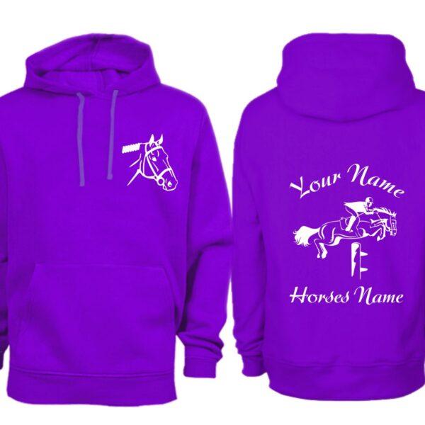 Adult Purple Personalised Show Jumping Hoodie